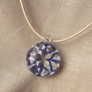 Rose window Geometric pattern Pendant Blue and White Tile2 Glass Handmade