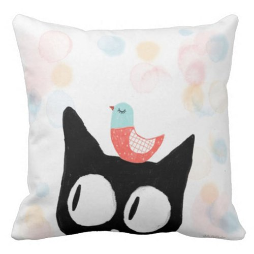 Black cats and birds - Australia Original pillow - from mail