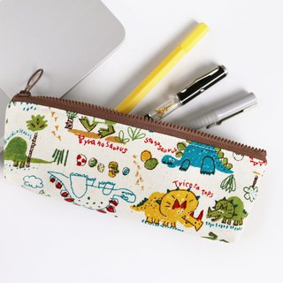 [Dinosaur Dinosaur] pencil bag / YKK plastic zipper stationery bag storage bag glasses pencil case portable universal bag