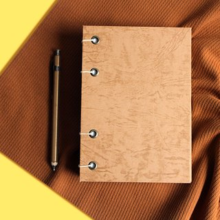 Brown imitation leather hand stitched hardcover notebook