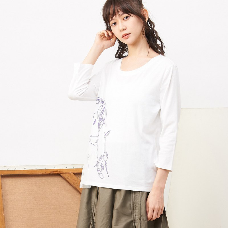 a la sha+a abstract girl print stitching mesh cotton top