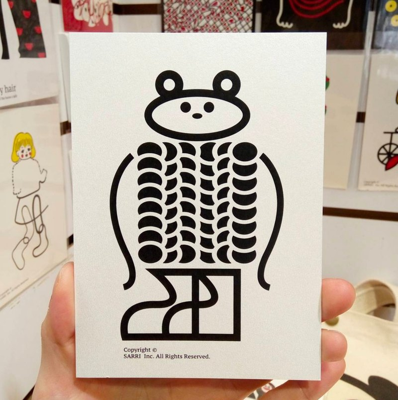 """Sweater bear"" postcard birthday card design coloring illustration picture card universal card art fine arts modern lover love special interesting weird special weird lovely taiwan yellow fun funny eye-catching tide art sequins flash cool differe"