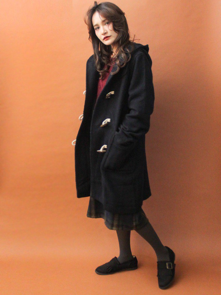 Retro autumn and winter college wind hooded black loose vintage horn buckle coat jacket - 瑕疵特