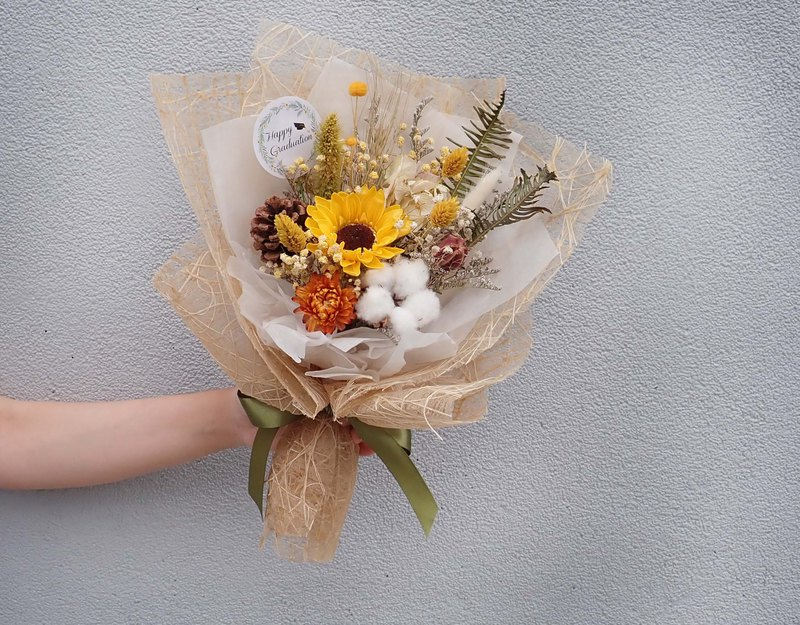 | Where to go | Sunflower. Pine cones. Gypsophila. Rabbittail. Dry flowers. Graduation bouquet