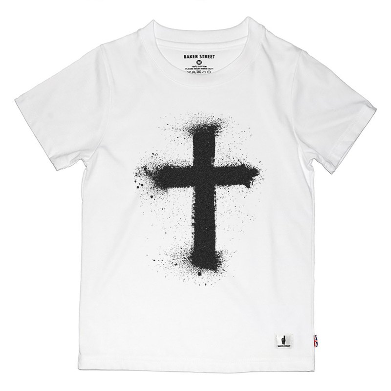 British Fashion Brand -Baker Street- Black St Cross T-shirt for Kids