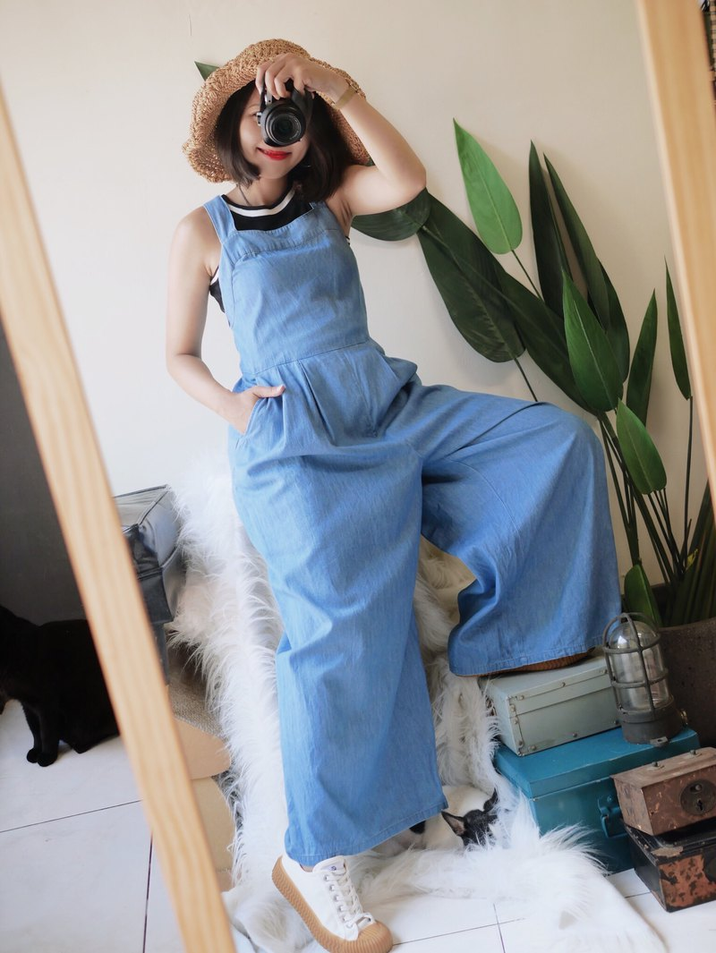 Light sea blue youth love day weekend party time antique cotton sling trousers vintage overalls