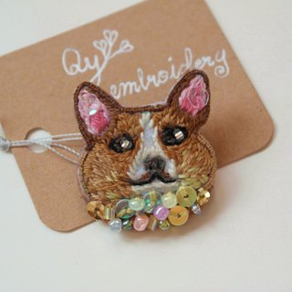 Qy's dogs Brown-Brown Corgi hand-embroidered brooch pin gift