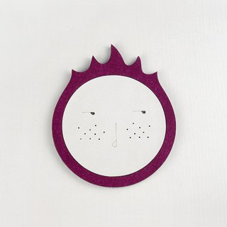 Dragon Fruit Waterproof and Water Absorbent Coaster , PU Leather and Wool Felt