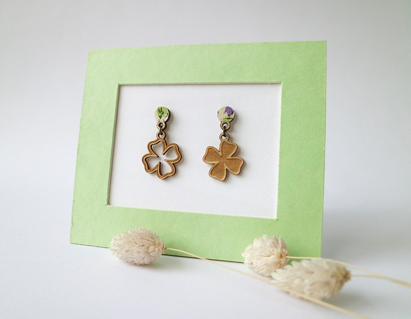 Asymmetric Clover Earrings - Ear Pins