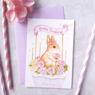 bunny birthday postcard - Purple