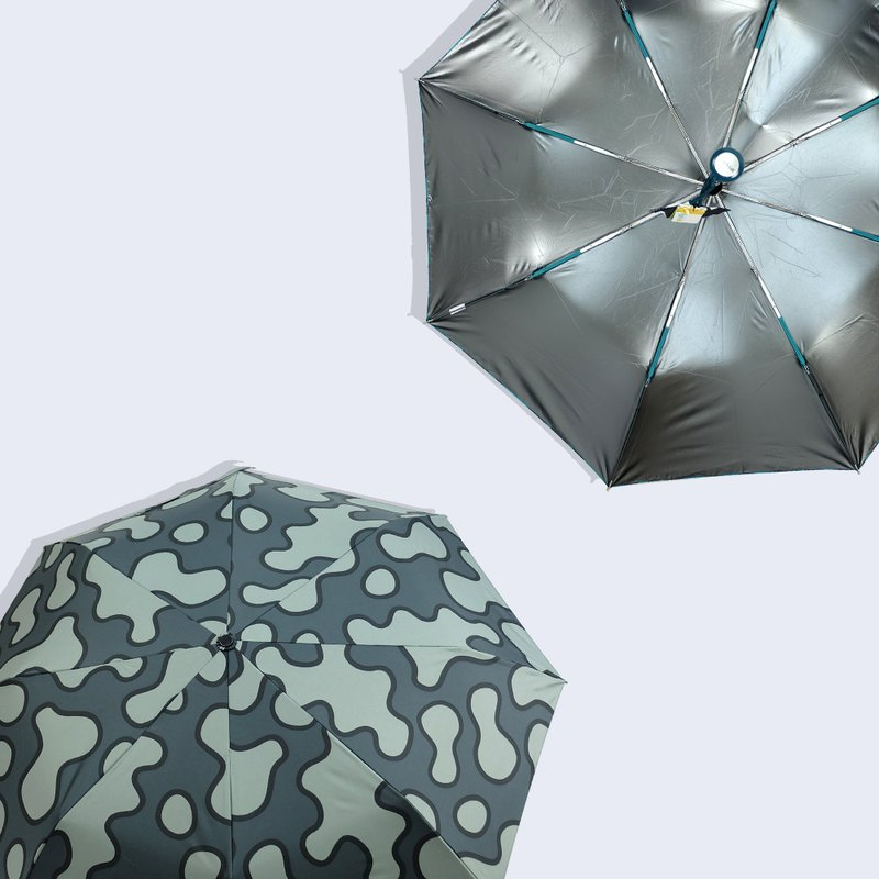 [Taiwan Wenchuang Rain's talk] cooling animal grain anti-UV tri-fold hand open umbrella