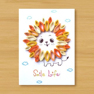 Handmade Roll Paper Card _ Little Lion Smile Life_B ... Thank you card, birthday card