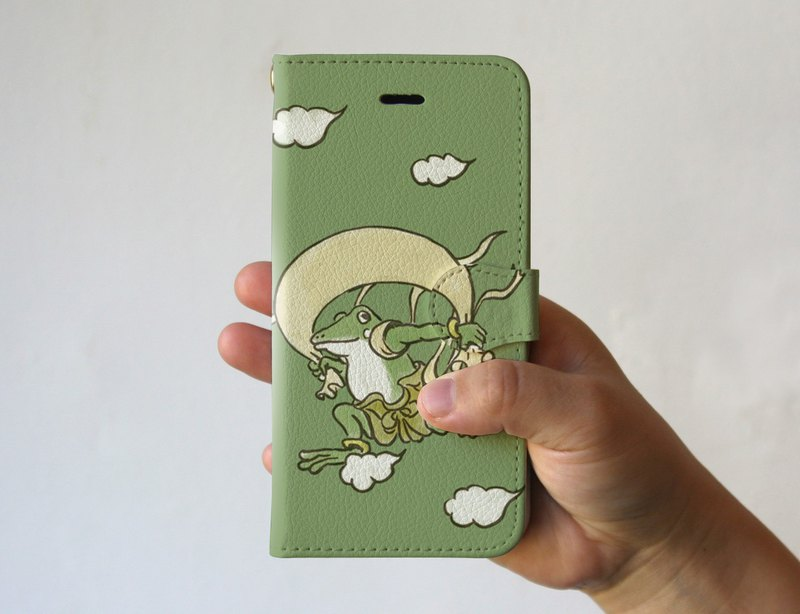 Smartphone cover ・ notebook type Fushin Raijin figure Olive