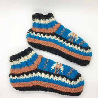 Nepal 100% wool hand-knitted warm thick wool socks - Blue Orange Nordic Series