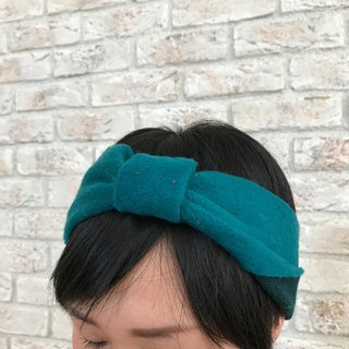 Knitted fabric Hair Turban- Blue Green
