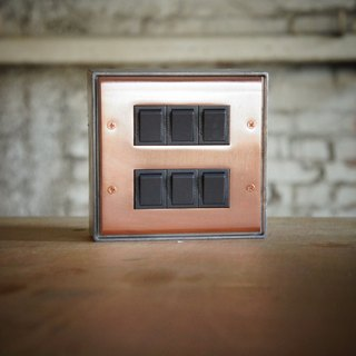 Edison-industry retro industrial wind LOFT red copper panel six open switch (dark gray)