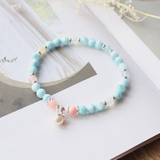 Journal cotton candy clouds / La Lima (sea lines), Aquamarine, Morgan stone, protein powder, silver bracelets
