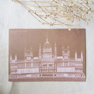 Travel scenery - Hungary - Budapest Parliament building / illustration postcard