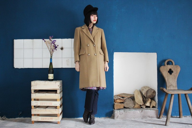 [Vintage Coat] (Made in Italy standard) Camel Kashmir wool trim coat (Made in Italy) F3152