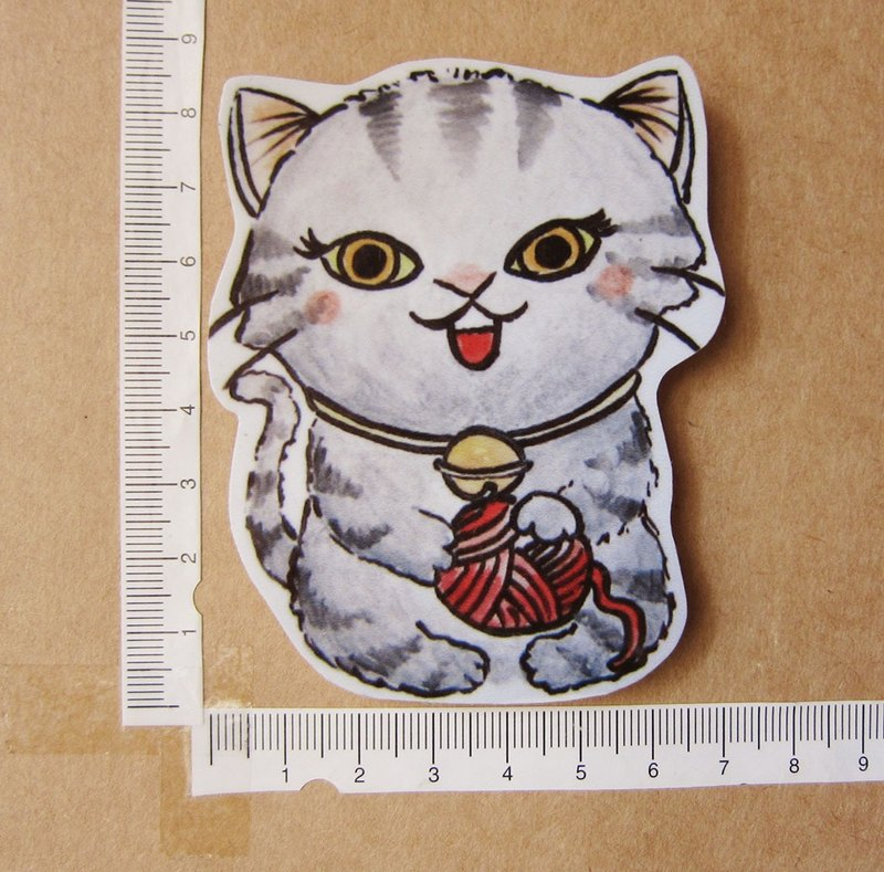 Hand-painted illustration style completely waterproof sticker playing with yarn ball gray pattern cat