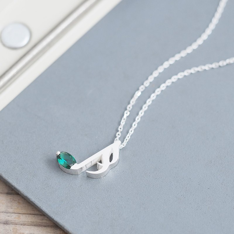 Emerald 16th note musical note necklace 925