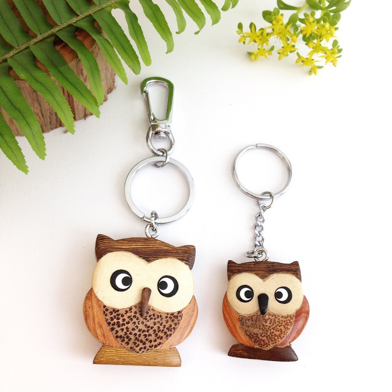Wooden hand made owl key chain