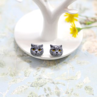 British Shorthair cat Earrings, Cat Stud Earrings, cat lover gifts