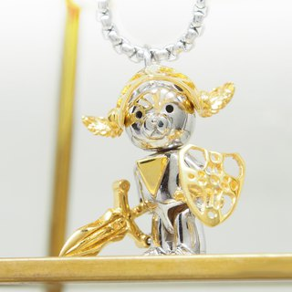 silver designer toy jewellery figure - Bear Alliance - 14K gold plated Knight