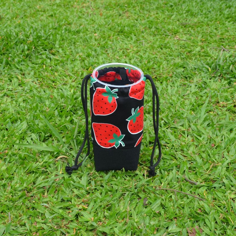 Strawberry beverage bag/water bottle holder/beverage carrier/bunch pocket