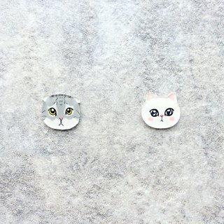 Pista Mound Hand-painted Earrings / Animals - Folding Cats + Persian Cats