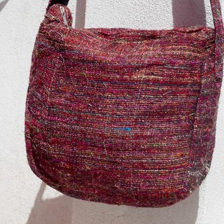 Valentine's Day gift limited to a natural hand-woven striped oblique backpack / backpack / side bag / shoulder bag / travel bag - red star hand twist yarn