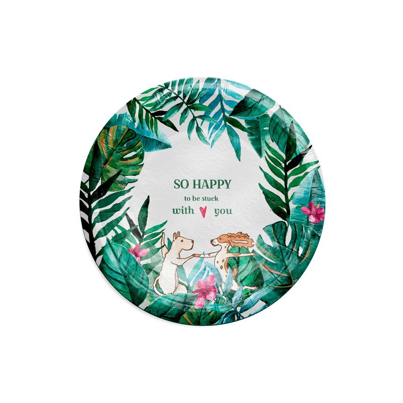 Party paper tray hot and hot.. Tropical 6 inch disc