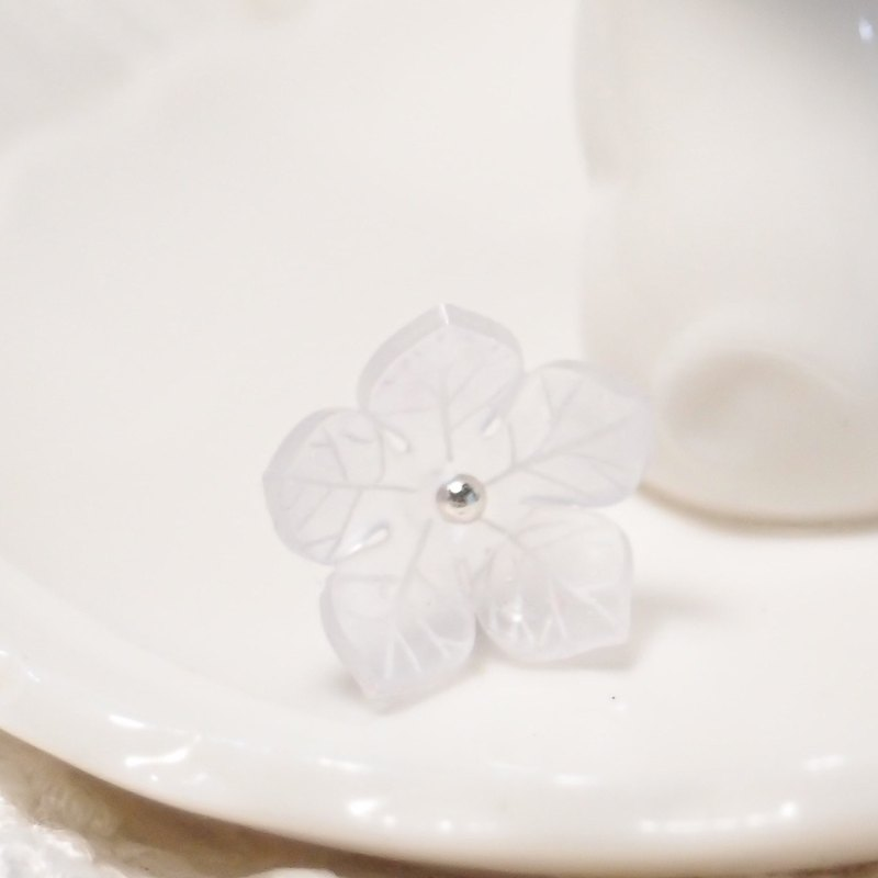 Fox Garden hand-made flower language series: white balloon flower earrings / ear pin / earrings / ear clip Christmas gift exchange gift**if not specified to be transparent ear clip shipping**