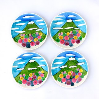 Mei and Mt. Fuji (14 cm color drawing dish)