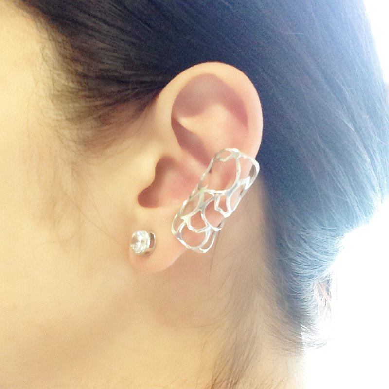 Ear cuff/Midi ring : Silver 950 cats design