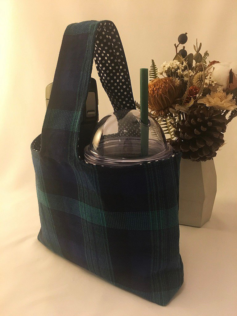 Blue Check Takeaway Drink Cup Bag - Two Cups