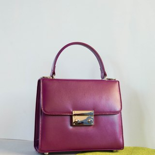 CLARA - ITALY COW LEATHER MINIMAL WOMEN HANDBAG - PURPLE