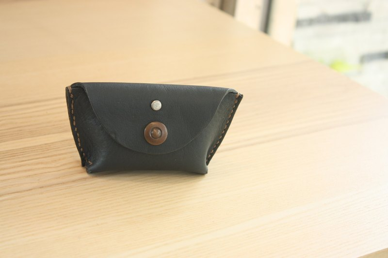 Navy blue leather hand-stitched dumplings shaped coin purse