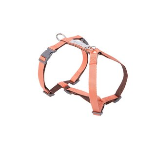 [Tail and me] classic nylon belt with chest strap pink orange / dark brown