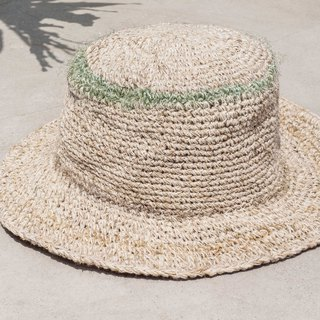 Handmade sari line woven cotton and linen cap knit hat fisherman hat straw hat straw hat - Sari line striped cap