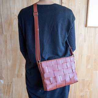 Woven Leather Shoulder Bag / Mesh Leather Shoulder Bag