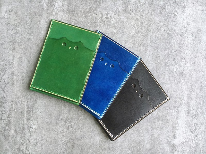 Handmade  leather  pass case /cute cat leather card case / Personalized