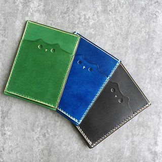Handmade  leather  pass case / cute cat leather card case / Personalized card case / black/blue/green