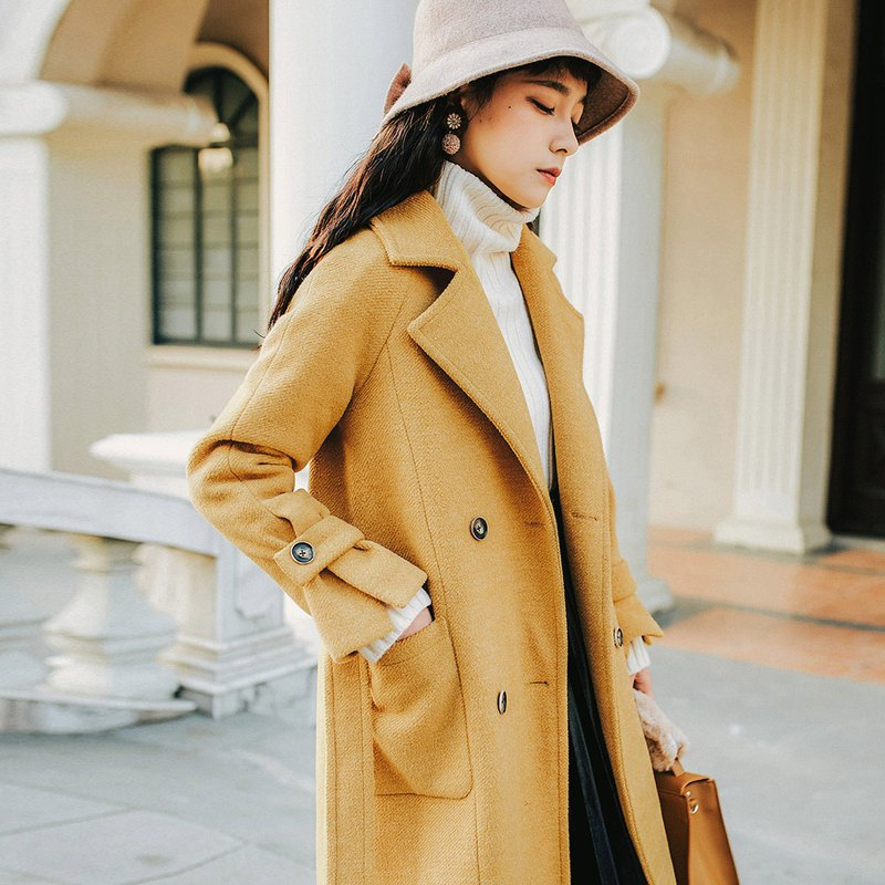 2018 women's winter wear front split raglan sleeve long coat YDD81220