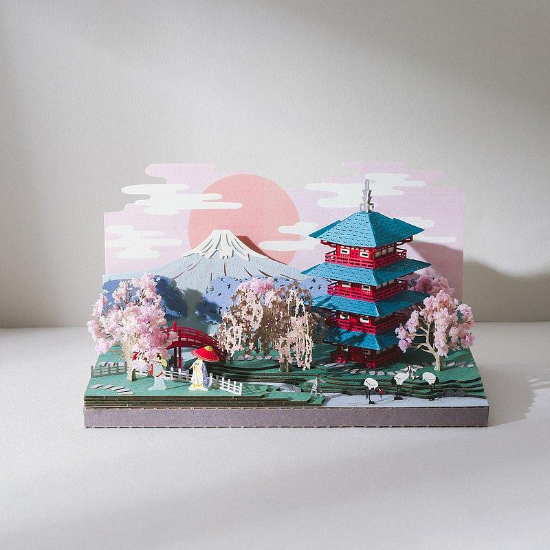 【Jeantopia】紙雕工藝 DIY材料包 春櫻富士山   9025150