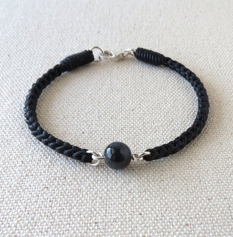 Sterling silver*black chicken species jade*silk wax line bracelet [eight stocks] anti-little, evil spirits, body protection