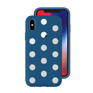AndMesh-iPhone Xs Dot Double Layer Anti-collision Cover - Cobalt Blue (4571384958851