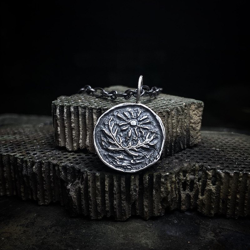 Ancient Coin Impression - Sun & Courage / Sterling Silver Necklace