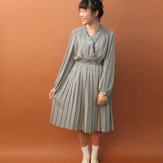 Vintage Autumn and Winter Japanese Grey Blue Flowers Floral Elegant Long Sleeve Vintage Dress Vintage Dress