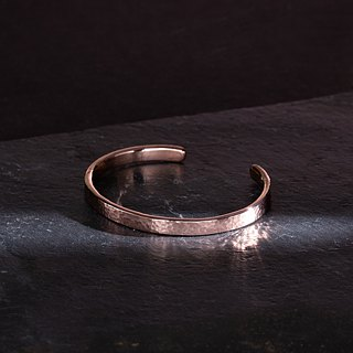Hammered Head Bangle Lecture Bracelet - Copper - Solid Sea Pattern / Wood Grain